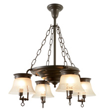 Classical Revival 4-Light Chandelier W/ Inverted Shades C1910