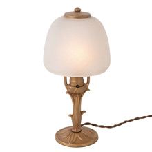 Cast Floral Table Lamp W/ Crackle Glass Shade C1925