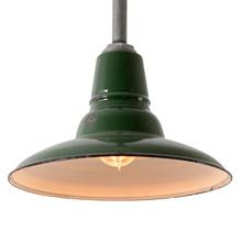 "12"" Green Enamel Warehouse RLM Pendant, C1950"