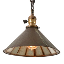 Industrial Chain Pendant Light w/ Mirror Reflector Shade C1890s