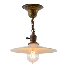 Industrial Semi-Flush W/Opal Reflector, C1910