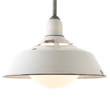 Extra Large White Enamel Warehouse Light W/ Rounded Glass Shade C1940