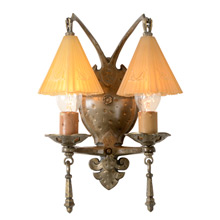 Romance Revival 2-Light Sconce W/ Smoke Bells C1934