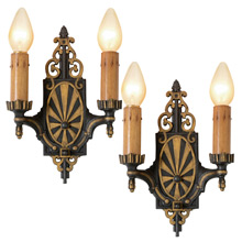 Pair of Elaborate Art Deco Sconces C1930