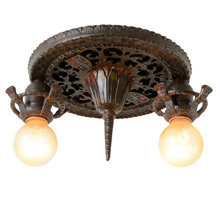 Romance Revival 2-Light Flush Fixture W/Shields, C1926