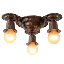 3-Light Romance Revival Flush Mount-Fixture, C1930
