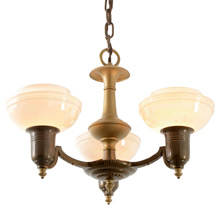 Dual-Toned 3-Light Streamline Chandelier, C1938