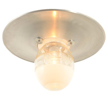 Mid-Century Flush-Mount Fixture W/ Dual Opacity Shade C1955