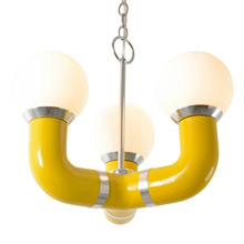 Contemporary Tubular 3-Arm Chandelier C1970
