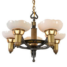 Transitional 5-Light Cup Chandelier by Lightolier, C1934