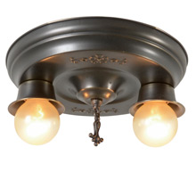 Small Stamped 2-Light Flush Pan Fixture, C1925