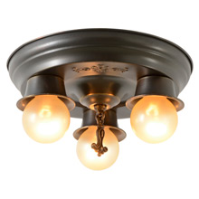 Small Stamped 3-Light Flush Pan Fixture, C1925