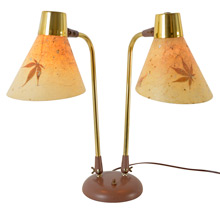 Mid-Century Natural Table Lamp W/ Maple Leaf Shades C1965