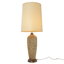 Large Mid-Century Cork Lamp W/ Natural Fiber Shade C1965