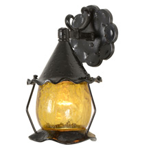Hammered Romance Revival Lantern W/ Crackle Glass Shade C1955
