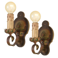 Pair Of Ornate Revival-Style Candle Sconces, C1925