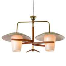 Mid-Century 2-Light Pendant W/ Wood Elements C1955