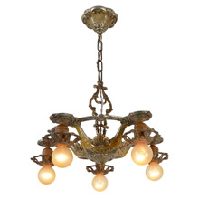 Original Polychrome Cast 5-Light Revival Chandelier, c1927