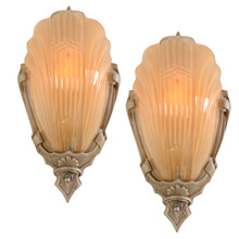 Pair of Polychrome Markel 2900 Line Wall Sconces C1935