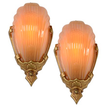 Pair of Original Polychrome Markel 2900 Line Wall Sconces, c1935