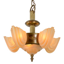Stunning Deco Slipper Shade Chandelier by Globe, C1935
