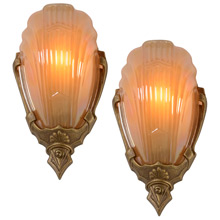 Pair of Polychrome Markel 2900 Line Wall Sconces, c1935