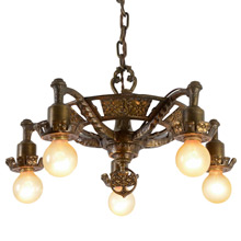 Ornate Revival-Style Brass 5-Light Chandelier, c1929