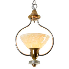 Classic Moderne Entry Pendant in Brass with Chrome Details, c1935