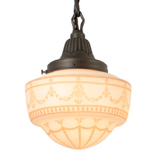 Classical Revival Pendant w/Decorated Schoolhouse Shade, c1930