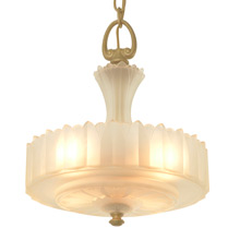 Awesome Center-Post Chandelier w/Satin Glass, c1938