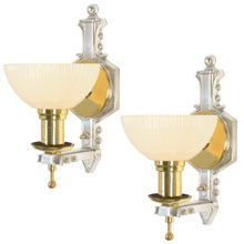 Pair of Polished Brass and Aluminum Art Deco Sconces C1930