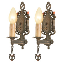 Pair of Moe Bridges Historic Revival Sconces C1925