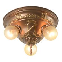 Interesting Stamped Heraldic 3-Light Ceiling Pan, C1926