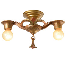 Cast Polychrome 2-Light Decorative Flush Fixture, C1925