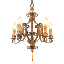 Revival-Style Polychrome 5-Light Strap Chandelier, C1925
