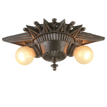 Art Deco Starburst Ceiling Mount Fixture C1928