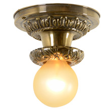 Acanthus Adorned Beam Light In Aged Brass, C1925