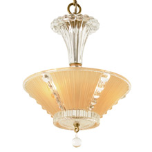War-Era Light Peach Center-Post Bowl Chandelier, C1940