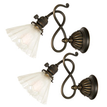 Pair of Charming Late-Victorian Wall Sconces W/ Etched Glass Shades C1900