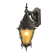 Dramatic Wrought-Style Storybook Lantern Sconce, c1932