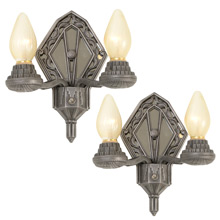 Pair of Art Deco Sconces W/ Mirrored Back Plates, C1935
