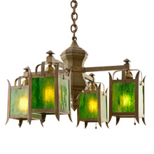 Unusual Arts & Crafts Chandelier W/ Green Art Glass C1910