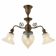 Impressive Late Victorian Fixture W/Swirled Opalescent Shades, C1905