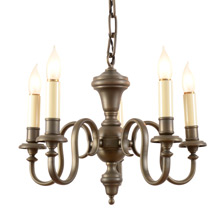 5-Arm Antique Brass Colonial Chandelier C1920