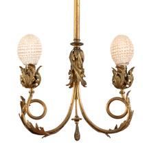Stunning Gilt Rococo 2-Light Pendant c1895
