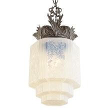 Highly Ornate Art Deco Pendant w/ Iridescent Shade c1930s