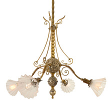 Truly Exceptional Silver-Plated Empire Chandelier c1885