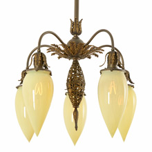 Enchanting 5-Light Empire Chandelier w/ Straw Opalescent Shades c1890s