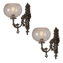Highly Ornate Victorian Wall Sconce Pair c1885