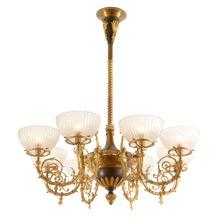 Stunning 8-Light Beaux Arts Chandelier W/ Ornate Ormolu C1895